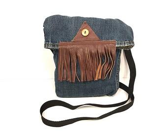 SM Crossbody Bag // Repurposed // Blue Denim Fold Over // Brown Leather Fringe