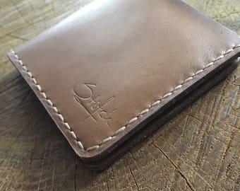 Leather Slim Wallet Minimalist handstitched wallet Leather wallet Handmade wallet Chocolate Brown wallet Bi-fold Wallet Minimalist wallet