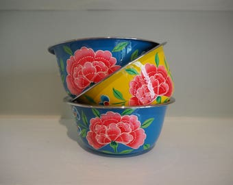 Hand Painted Kashmir Enamelware Gypsy Hippie Floral Shabby Chic Glamping Bowl Set x 3