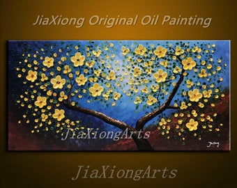 handmade Original Art Oil Painting On Canvas Yellow Flowers Painting Modern Home Decor Canvas Wall Art Abstract Art  Landscape painting