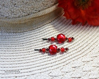 Bright Red Glass Beads Wire Wrapped Hair Pins. Red Bead Bobby Pins. Red Glass Bead Hair Accessory