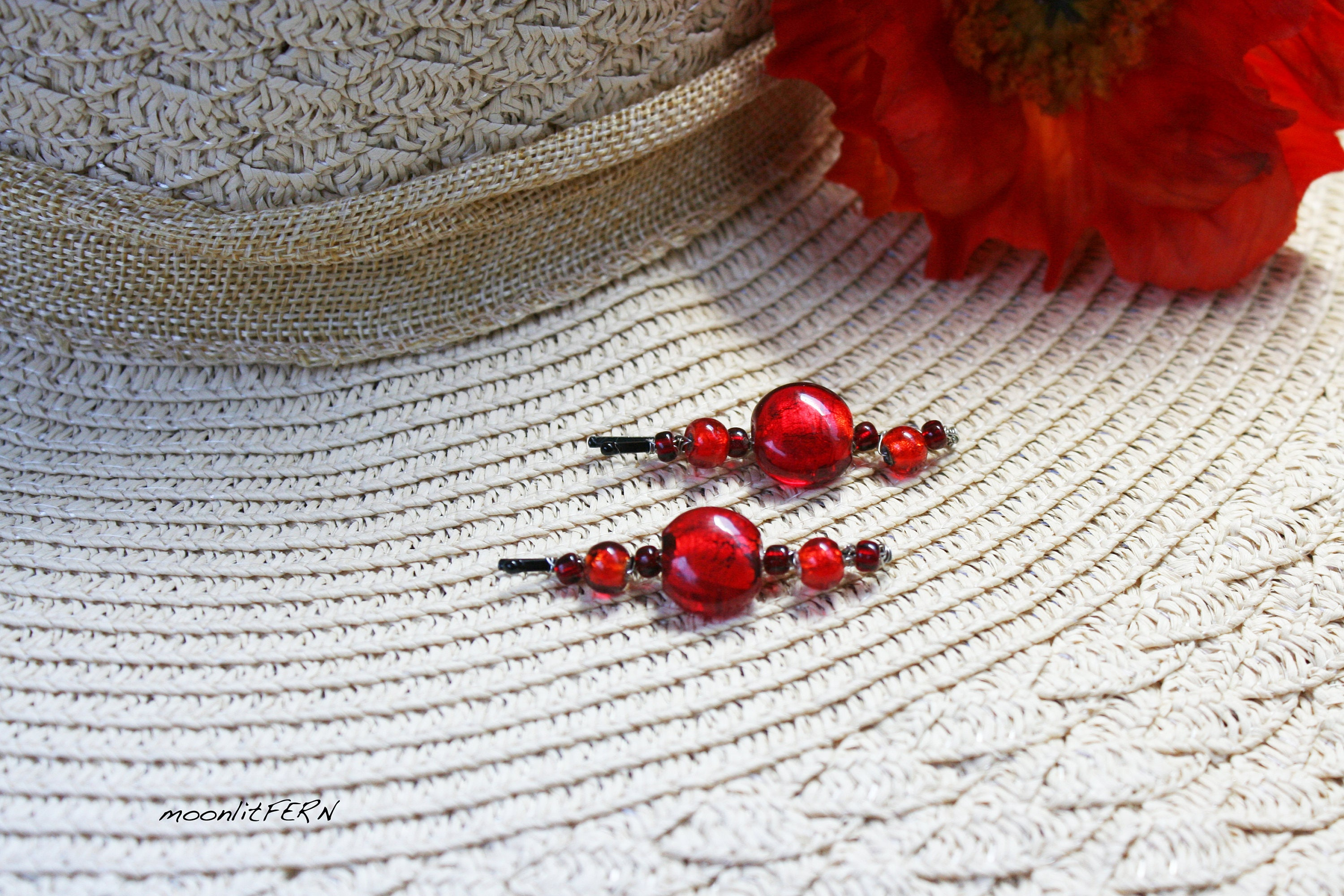 Bright Red Glass Beads Wire Wrapped Hair Pins. Red Bead Bobby Pins ...