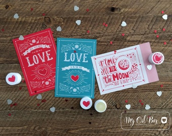 Valentine's Day Cards LOVE • Hearts • Moon