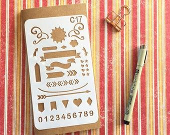 Bullet Journal Stencil #C17 - Planner, Journal, Craft, Scrapbooking, Decoration