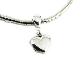 DIY BreastMilk Sterling Silver Locket Dangle Charm, Do it Yourself DNA Breastmilk keepsake. Pandora Bead Compatible