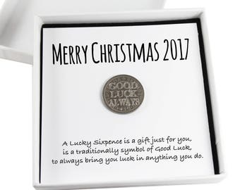 Lucky Sixpence Christmas Keepsake Gift,  Good Luck Present, Lucky Coin. Unique graduate gift.