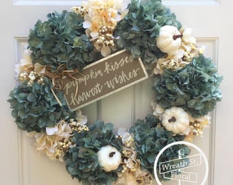 Fall Wreath, Autumn Wreath, Hydrangea Wreath, Pumpkin Wreath, Teal Wreath, Front Door Wreath, Grapevine Wreath, Wreath Street Floral