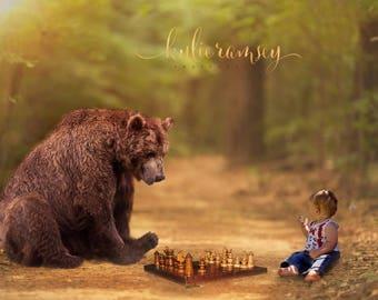 Bear Overlay, Digital Backdrop, Photo Manipulation, Chess, Digital Image, Bear Backdrop, Bear Background, Portrait Background,Photo Backdrop