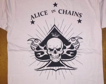 Alice In Chains Spade Skull White Shirt