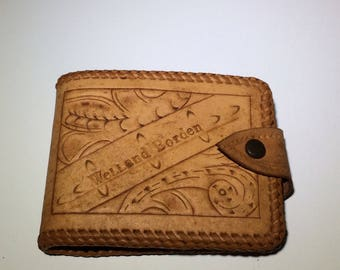 Vintage hand tooled leather wallet, brown leather wallet