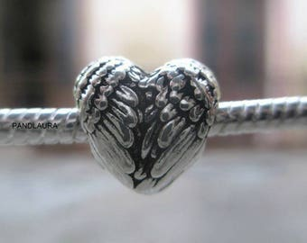 Charms / European heart bead, silver plated