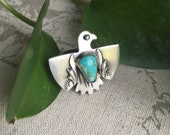 For Barb, Spirit Bird, Royston Turquoise, size 8, Handcrafted Sterling Silver Ring