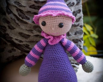 Pink and purple hand crocheted Elf