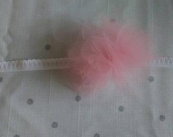 Pink & white puff headband