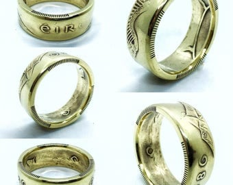 Custom Made Irish Ring From Antique Eire Brass Coin, Womenu0027s, Menu0027s,  Engagement,