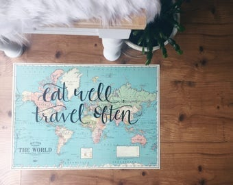 Eat Well Travel Often Hand Lettered World Map | Vintage Map | Travel Quote | Map Wall Decor  |  Travel Decor  | wanderlust | Boho Chic Decor