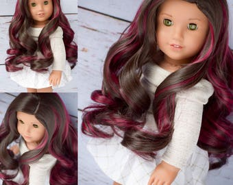 "Custom Doll Wig for 18"" American Girl Doll  - Heat Safe - Tangle Resistant - fits 10-11.5"" head size of doll GOTZ Hannah and more Brown Red"