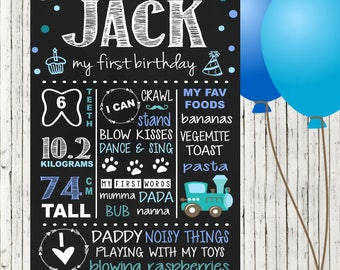 First Birthday Chalkboard Sign | Customised |  1st Birthday Milestone Print | Personalised | Party Sign |
