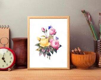 Flower Art Print, Flower Wall Decor, Fashion Gift, Instant Download, Printable Home Decor, Digital Art Print, Printable Art