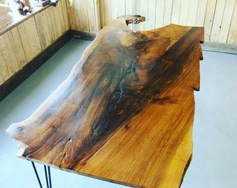 Walnut slice slab waney live edge dining table bespoke 1 off