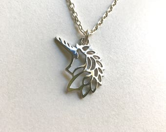 Unicorn necklace || Silver necklace