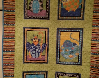 """Quilted 6 Funky Wall Hanging/Lap Quilt - 30"""" x 51"""""""