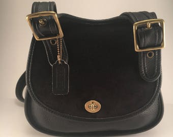 Vintage Coach Black Suede & Leather  Berkeley Crescent Saddle Bag / Style 9014 / Made in the U.S.
