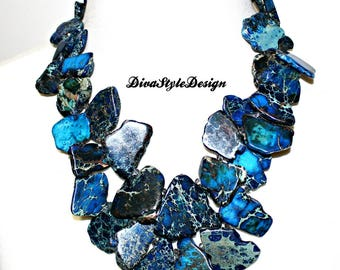 Blue Jasper Cluster Statement Necklace