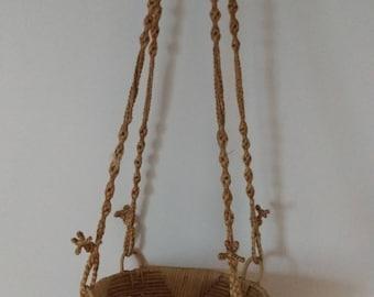 Rattan and macrame plant holder - Vintage - Bohemian - Scandinavian -
