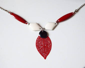 Red filigree and sequins, red and white leaf necklace