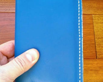 """Pocket Size Genuine Leather Journal Cover for Moleskine Classic Notebook, Pocket Size, 3.5"""" x 5.5"""", Blue"""