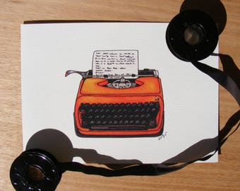 Vintage Typewriter | Illustration Print