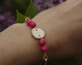 Antler Button Bracelet with Pink Beads
