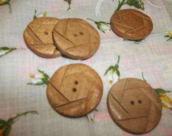 Vintage Large Wooden Buttons Retro Set Of 5