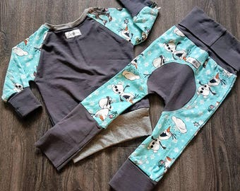 Custom Grow With Me sets tops maxaloons joggers pants clothes that grow leggings cloth diaper pants semi custom bum circle pants no hood