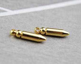 2 of 14k gf tiny bullet spike charm pendant 19x4mm XD3