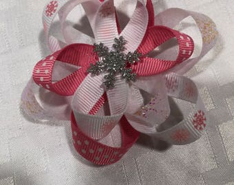 Pink and white snowflake hair bow