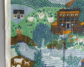 Pat Albeck Tea Towel, Wall hanging, Vintage Ulster Linen, farm, countryside scene.