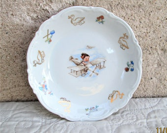 Vintage German Porcelain, children's plates, baby gifts, porcelain plates, Bavarian china, children's fairytales