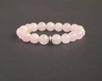 Meditation yoga bracelet Rose quartz yoga bracelet Pink stretch bracelet Wrist mala beads Sterling silver bead Rose quartz chakra jewelry