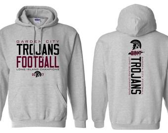 Unisex Hoodies - Garden City - High School - Football - Trojans - GCHS - Long Island Champions - Rutgers Cup - Design 2