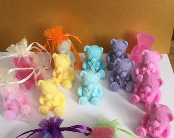 Cute little hand made natural teddy bear soaps, vegan friendly