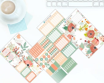 Peaches & Green - Weekly Kit Stickers for Erin Condren Vertical LifePlanner