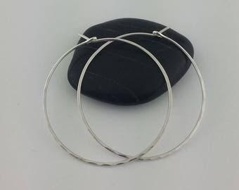 """Thin 1.5"""" Silver Hoop Earrings, Hammered Hoop Earrings, Silver Hammered Hoops, Argentium Sterling Silver, Hoop Earrings, Hammered Earrings"""