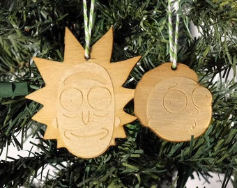 Rick and Morty Christmas Ornament Set // Party Favor // Celebrate your love of everything Rick and Morty