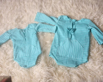 Photographers Prop,Newborn/sitter Aqua & White striped Baby Boy Romper,Up Cycled,Handmade by Me in The UK,RTS,Great for newborn Photo Shoot.