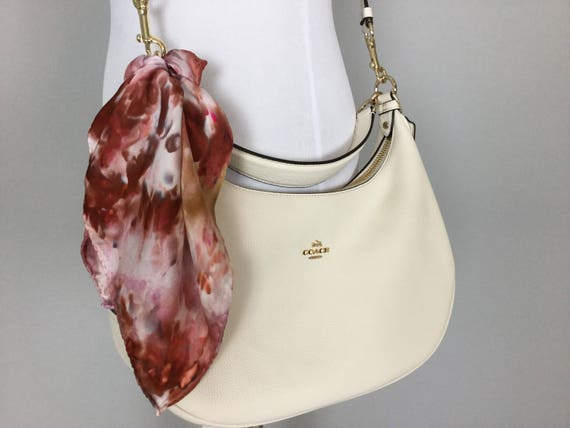 """Fall Accessories Brown & Mauve Purse Scarf, 100% Silk, Hand Dyed Ice Dye Artistic Purse Scarves 17"""""""