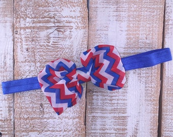 4th of July Headband, Patriotic Headband, Chevron Bow, Red, White & Blue Headband, Newborn Headband, Toddler Headband, Girls Headband