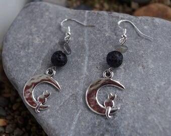 Cat on Moon earrings