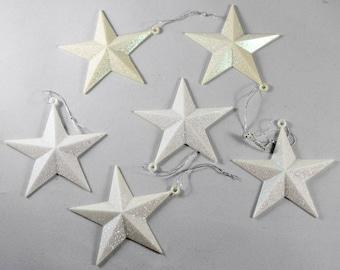 White Glitter Stars  - Vintage Star Ornament - Six 3D Stars - Sparkly Star - Star Christmas Ornament - Assemblage Mixed Media Supplies